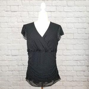 Merona black white polka dot sheer overlay top